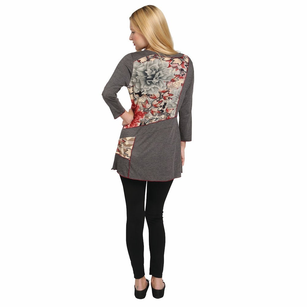be0f2fee79a Shop Women's Tunic Top - Parsley & Sage Gray Fig Leaf 3/4 Sleeve Shirt -  Free Shipping Today - Overstock - 15813164