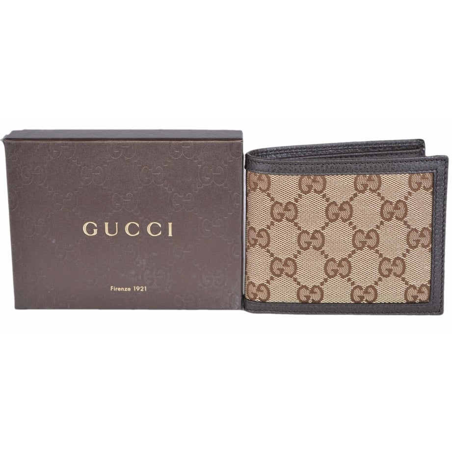 5bc12c8ba59 Shop Gucci Men s 260987 Beige Canvas GG Guccissima Bifold Wallet - ebony  beige - Free Shipping Today - Overstock - 15999256