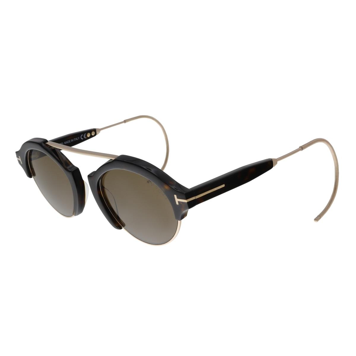 109fb2a5eea Tom Ford FT0631 52J Farrah-02 Dark Havana Gold Round Sunglasses - No Size