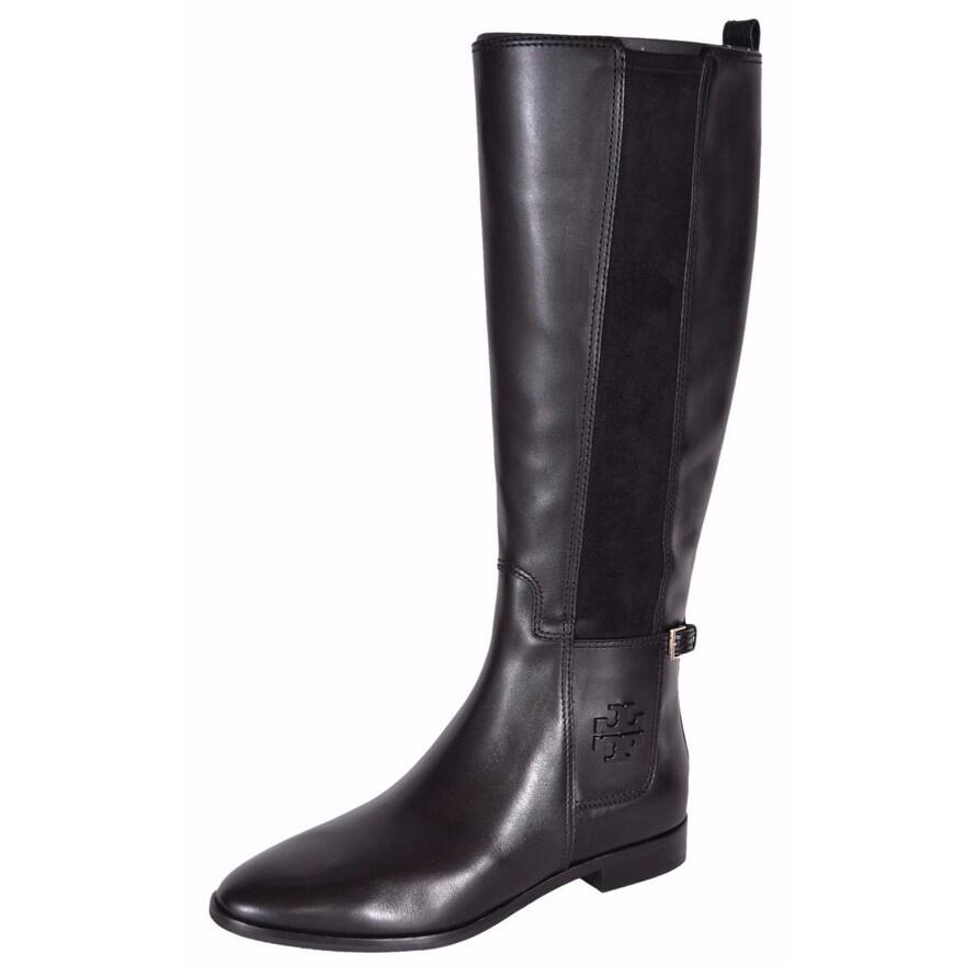 0bbb3cf8bb8 Shop Tory Burch Women s Black Leather Wyatt Knee High T Logo Riding ...