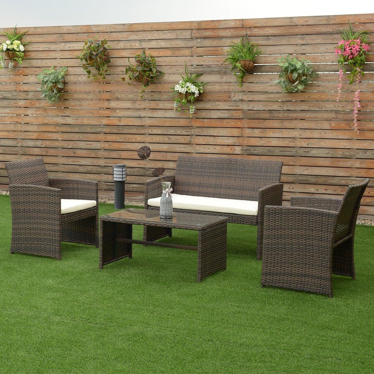 Shop Costway 4 PCS Outdoor Patio Rattan Wicker Furniture Set Table ...