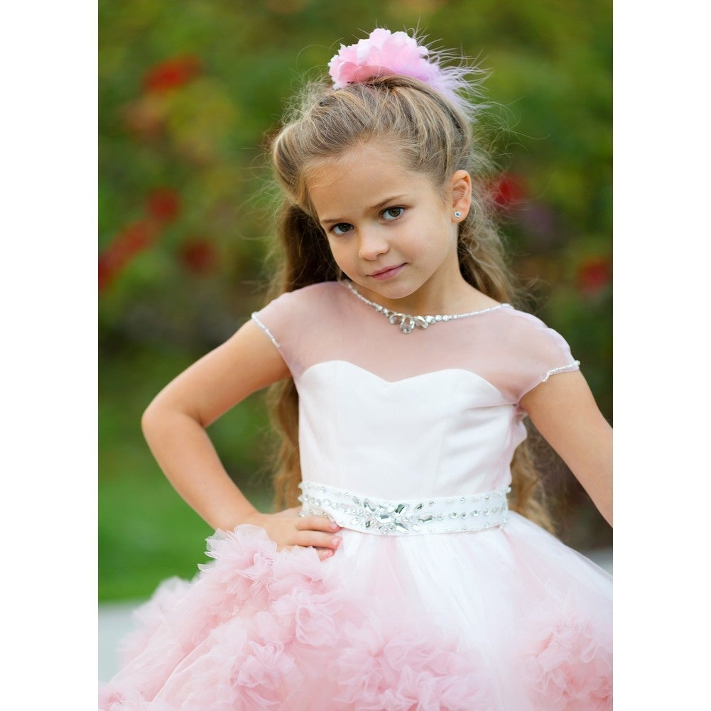 a449e0bcdca92 Shop Girls Dusty Rose Tulle Satin Mesh Crystals Elizabeth Flower Girl Dress  - Free Shipping Today - Overstock - 19292362