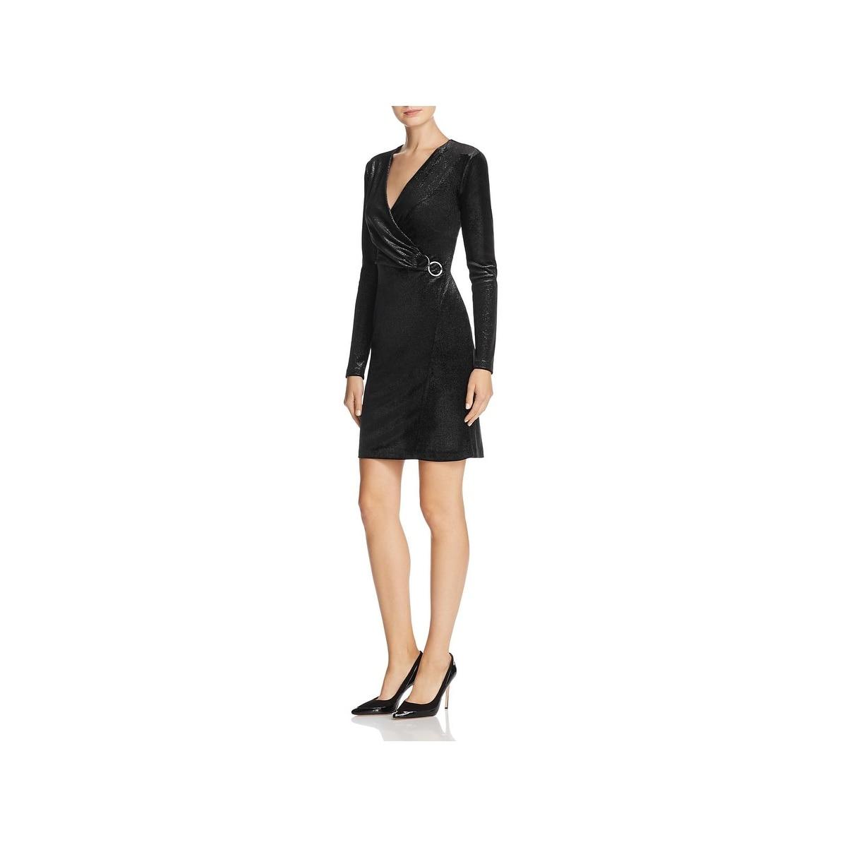 372ac1cd8e0d9 Shop T Tahari Womens Maureen Cocktail Dress Metallic Faux Wrap - On ...