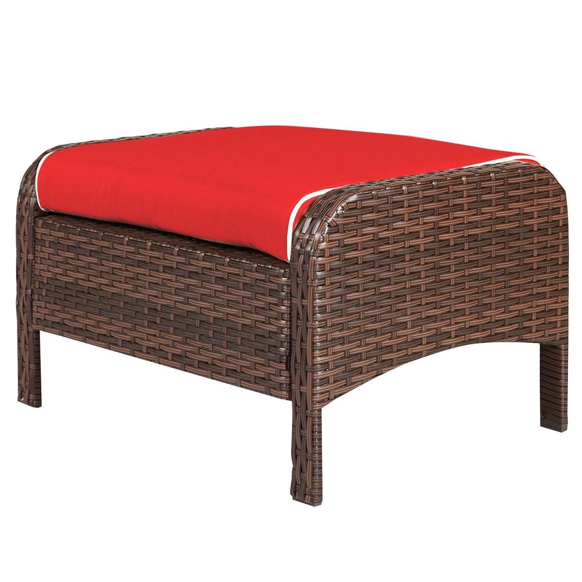 Shop Costway 5 PCS Patio Rattan Wicker Furniture Set Sofa Ottoman W/Red  Cushion Garden Yard   As Pic   Free Shipping Today   Overstock.com    16501364