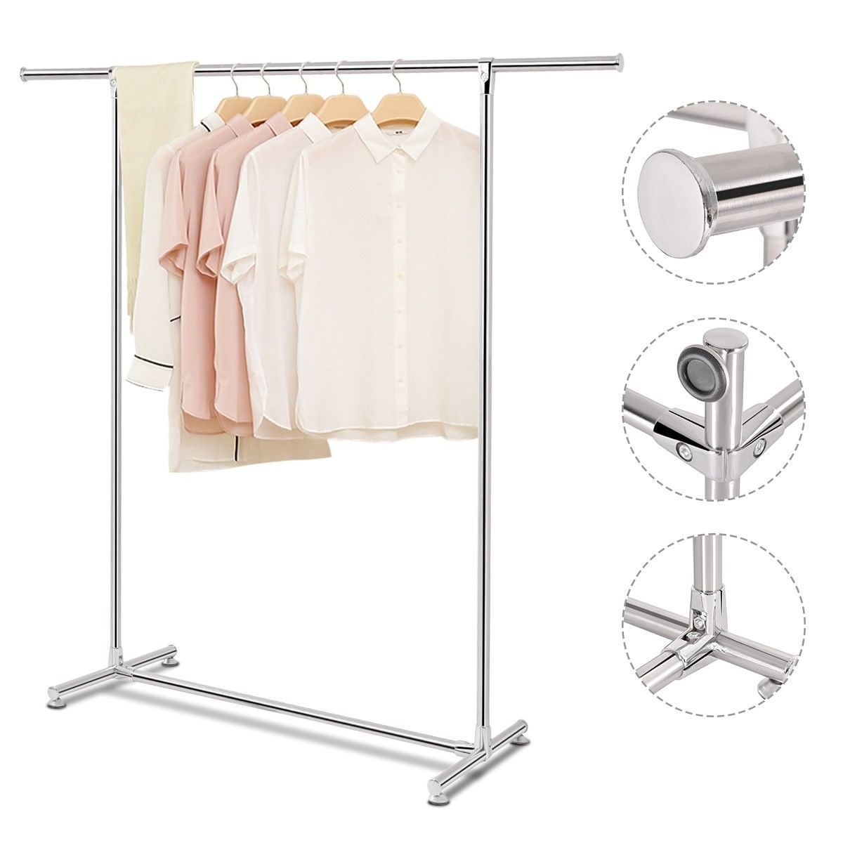 Shop costway heavy duty stainless steel garment rack clothes hanging drying display rail sliver free shipping on orders over 45 overstock com