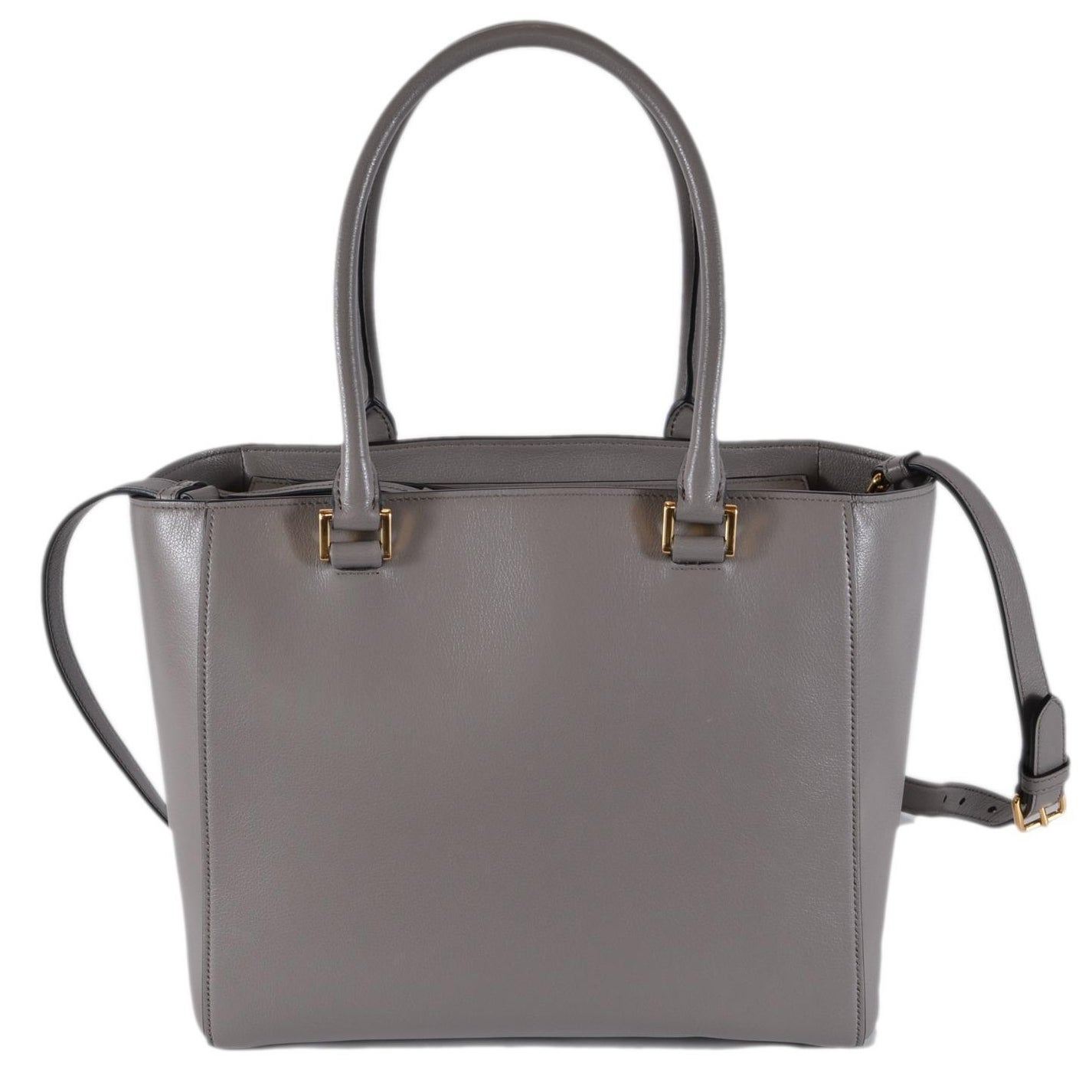 35aaab06259441 Prada 1BG227 Grey Glace Leather Medium Convertible Purse Handbag Tote