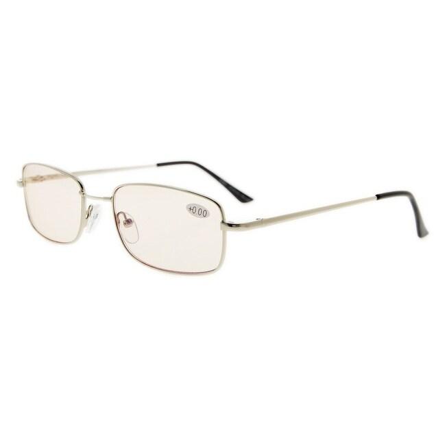 c79d1b953c742 Eyekepper Bridge-flex Memory Titanium Mens Womens Spring Hinges Eyeglasses  Silver(Amber Lens