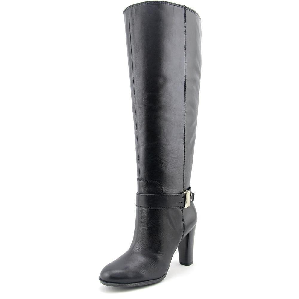 af0bd0dcfba8 Enzo Angiolini Sumilo Wide Calf Women Round Toe Leather Black Knee High Boot