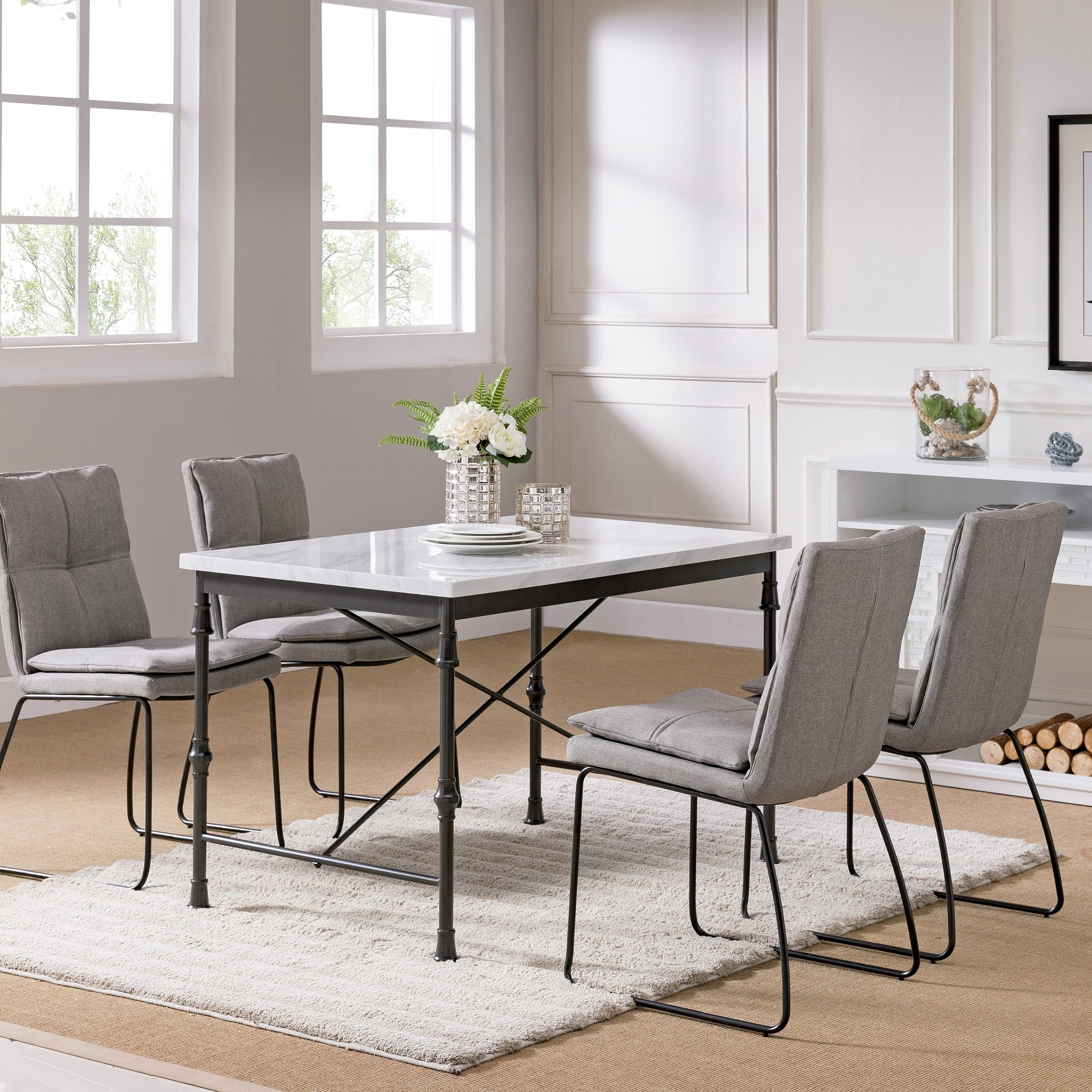 Carbon Loft Ivan Faux Marble Dining Table - white faux marble and black