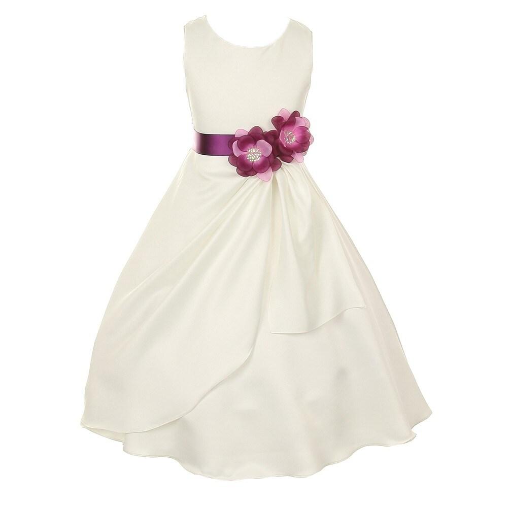 38be262d15 Little Girls Ivory Plum Bridal Dull Satin Sequin Flowers Occasion Dress 2-6
