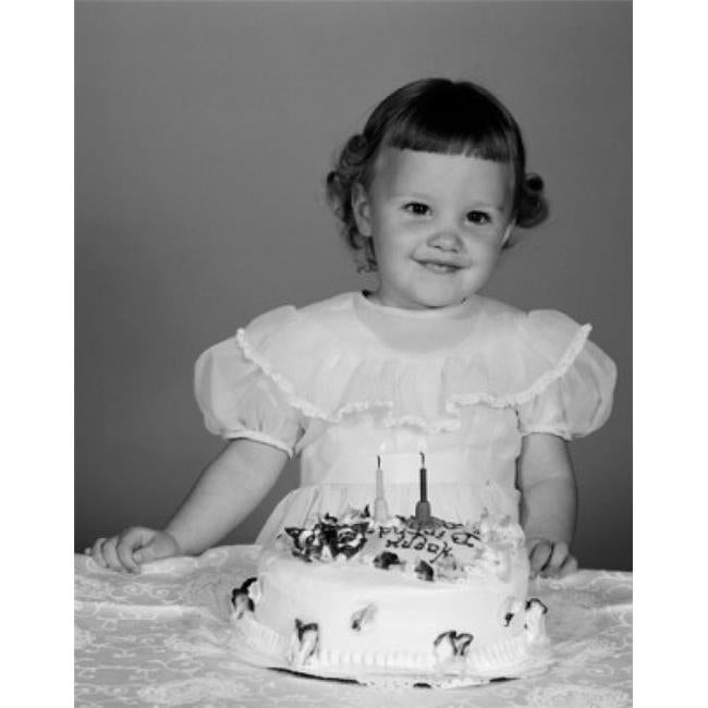 Shop Portrait Of Small Girl With Birthday Cake Poster Print