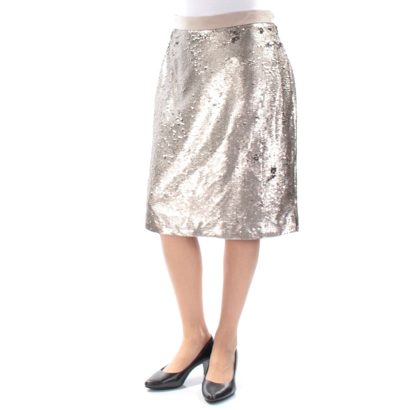 e72a7d206 Shop MAISON JULES Womens Gold Sequined Slitted Below The Knee Pencil Skirt  Size: 6 - Free Shipping On Orders Over $45 - Overstock - 25625356
