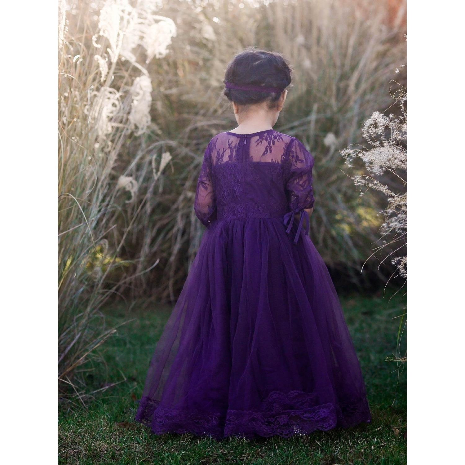 b9dc88d52 Shop Little Girls Eggplant Purple Tulle Lace Gabriella Flower Girl Dress -  Free Shipping On Orders Over $45 - Overstock - 23078749