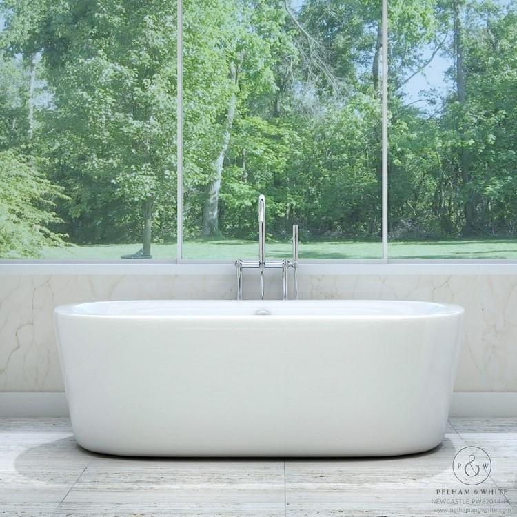 Pelham U0026 White Luxury 67 Inch Modern Freestanding Tub With Chrome Drain