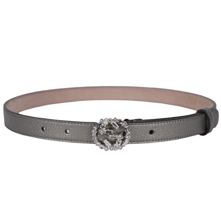 4546a8879 Shop Gucci Women's Metallic Grey Leather Swarovski Crystal GG Buckle Skinny  Belt 26 65 - Free Shipping Today - Overstock - 17613017