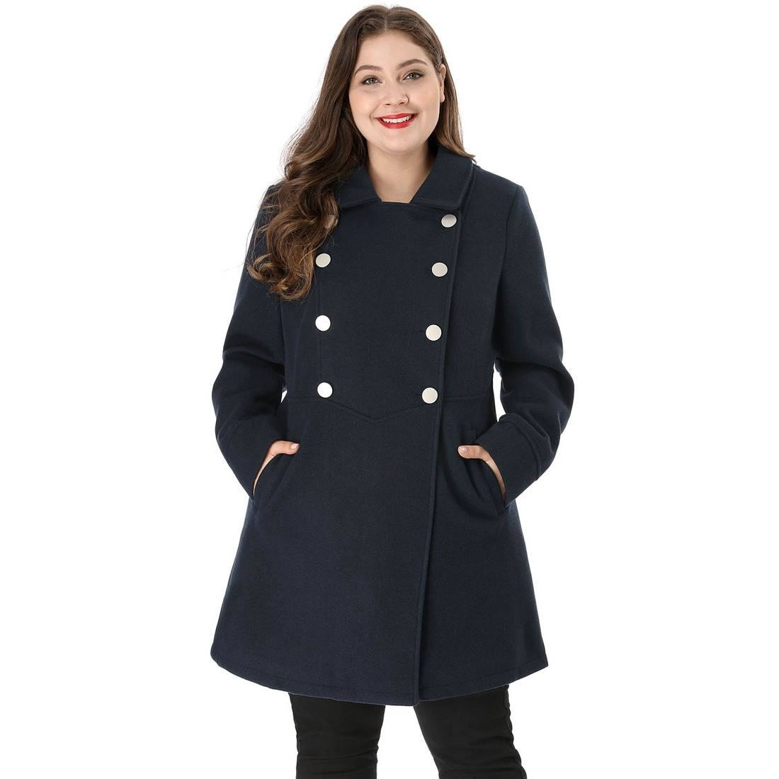 Shop Women\'s Plus Size A Line Peter Pan Collar Double Breasted Coat ...