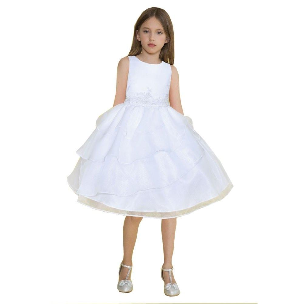 a09e333ea4 Calla Collection Little Girls White Organza Lace Applique Flower Girl Dress