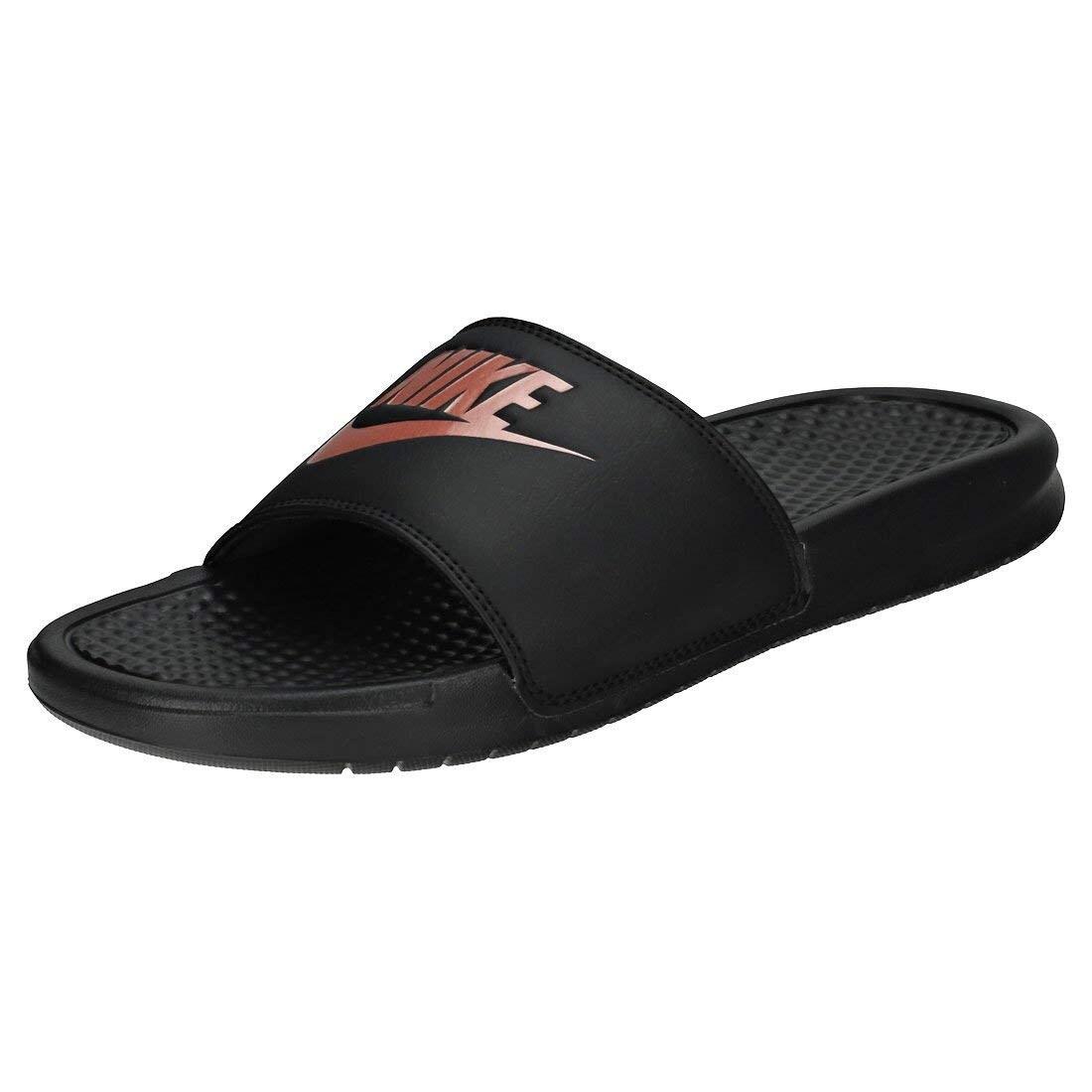 best website e9cc9 8749e Nike Women s Benassi Just Do It Slide Sandal, Black Rose Gold, 11 Regular Us