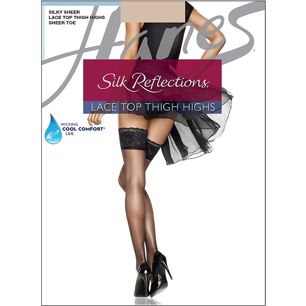 fcfca99bd5c Shop Hanes Silk Reflections Lace Top Thigh Highs - Size - EF - Color - Travel  Buff - Nude - Free Shipping On Orders Over  45 - Overstock - 13875477