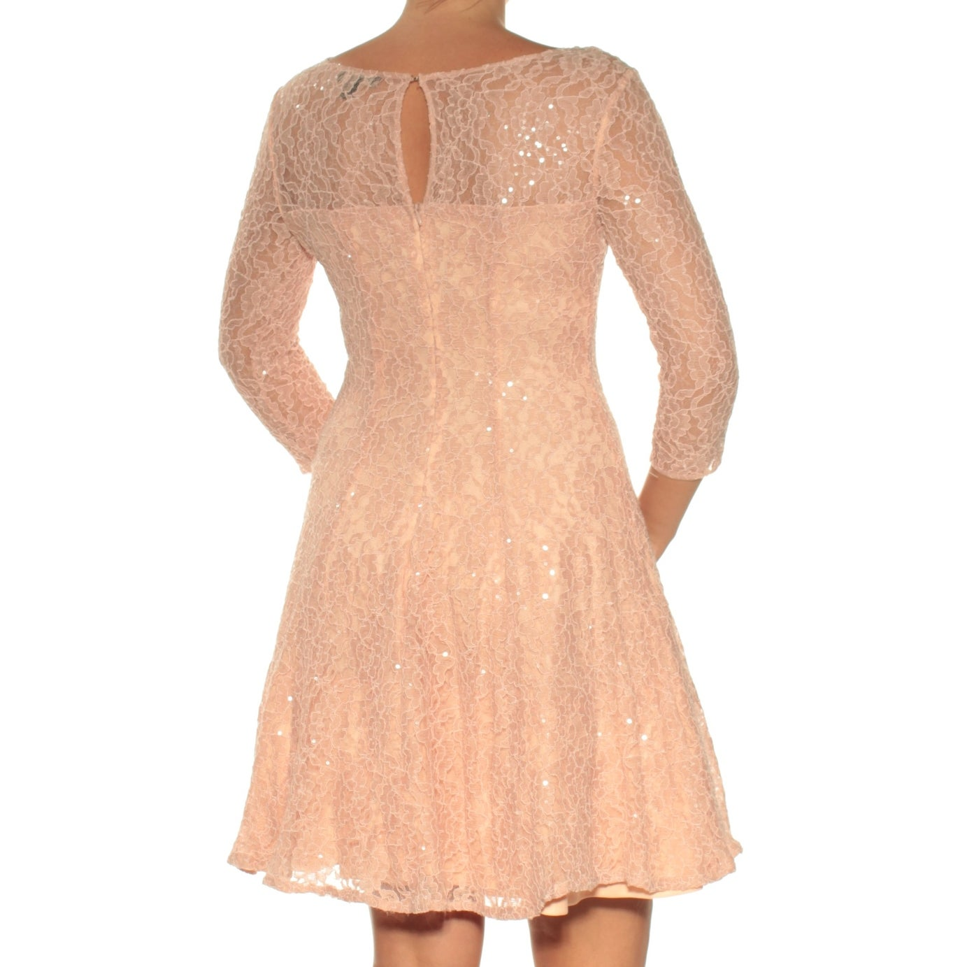 cf128f4d34 Shop SLNY Womens Pink Lace Sequined 3 4 Sleeve Cowl Neck Above The Knee Fit  + Flare Formal Dress Size  6 - Free Shipping On Orders Over  45 -  Overstock.com ...