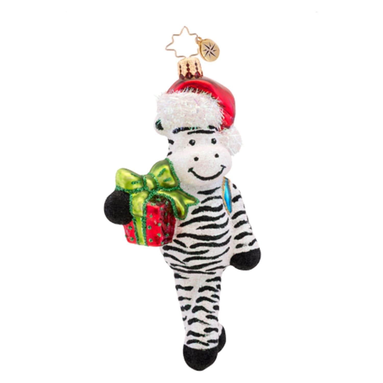 Shop Christopher Radko Glass Zack Zebra Striped Glitter Christmas Ornament   1017316 - WHITE - Free Shipping Today - Overstock.com - 16563638 a571f9970