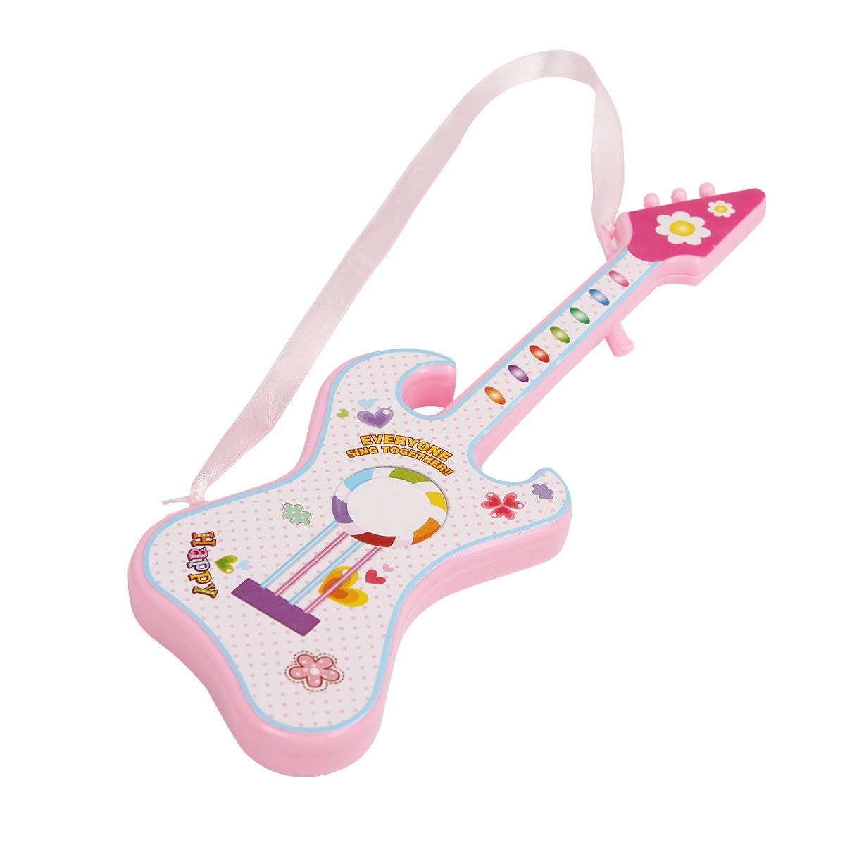 Costway 16'' Girl Doll Pretend Play Guitar Lifelike Singing 3 Songs Voice  Control - Red