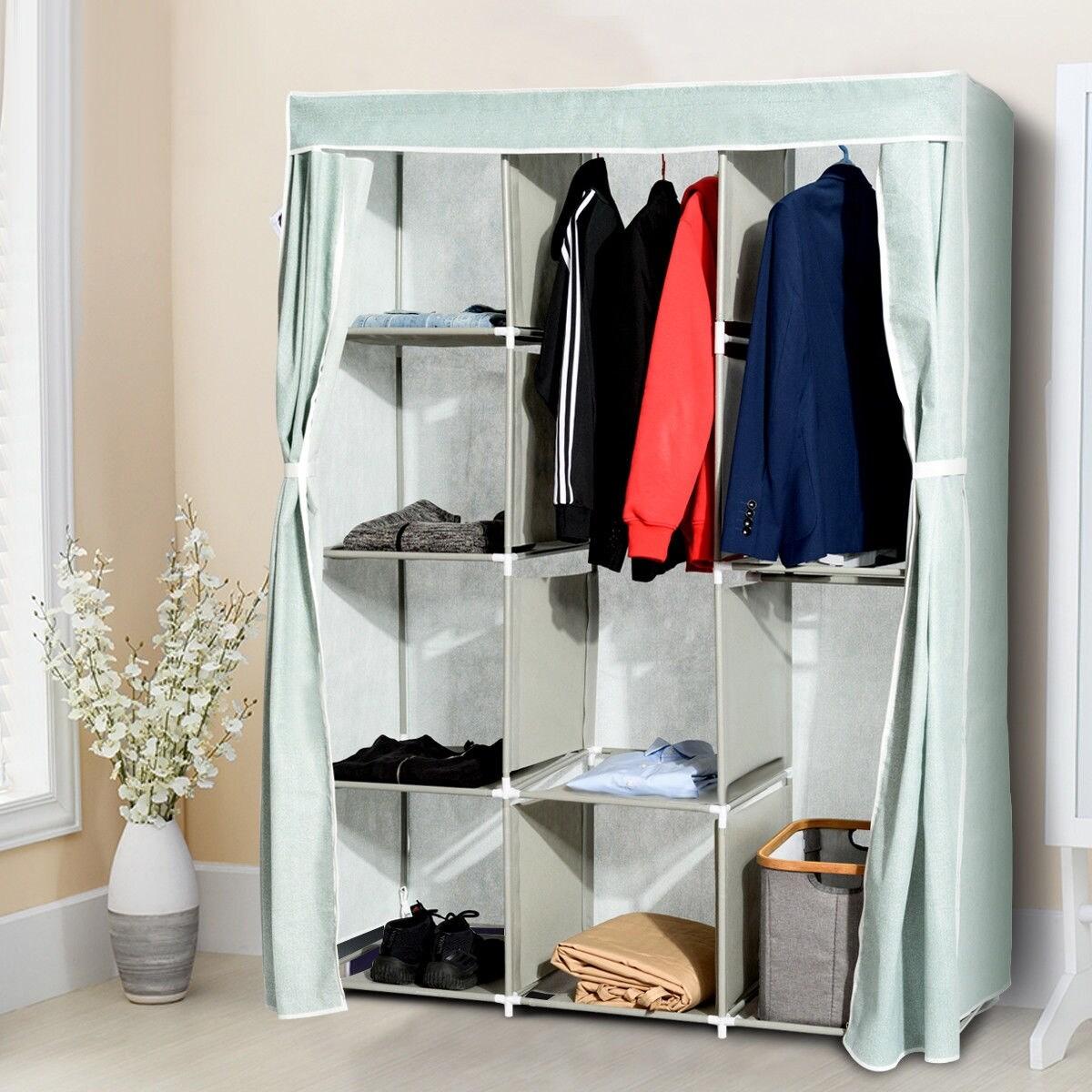 Gymax Portable Clothes Closet Storage Organizer Fabric Wardrobe Cabinet Rack As Pic