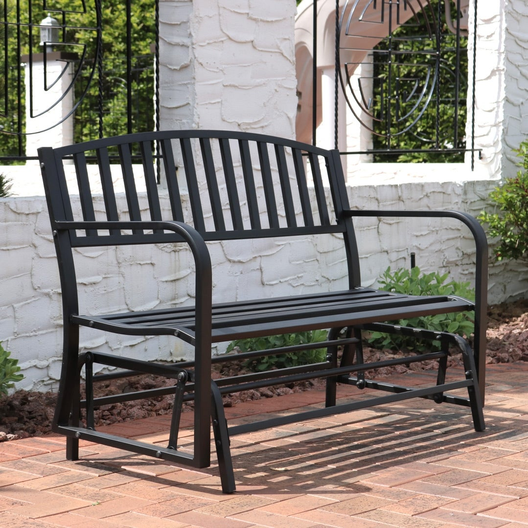 Sunnydaze Black Steel Metal Outdoor Patio Garden Glider Bench 50 Inch On Free Shipping Today 16636374