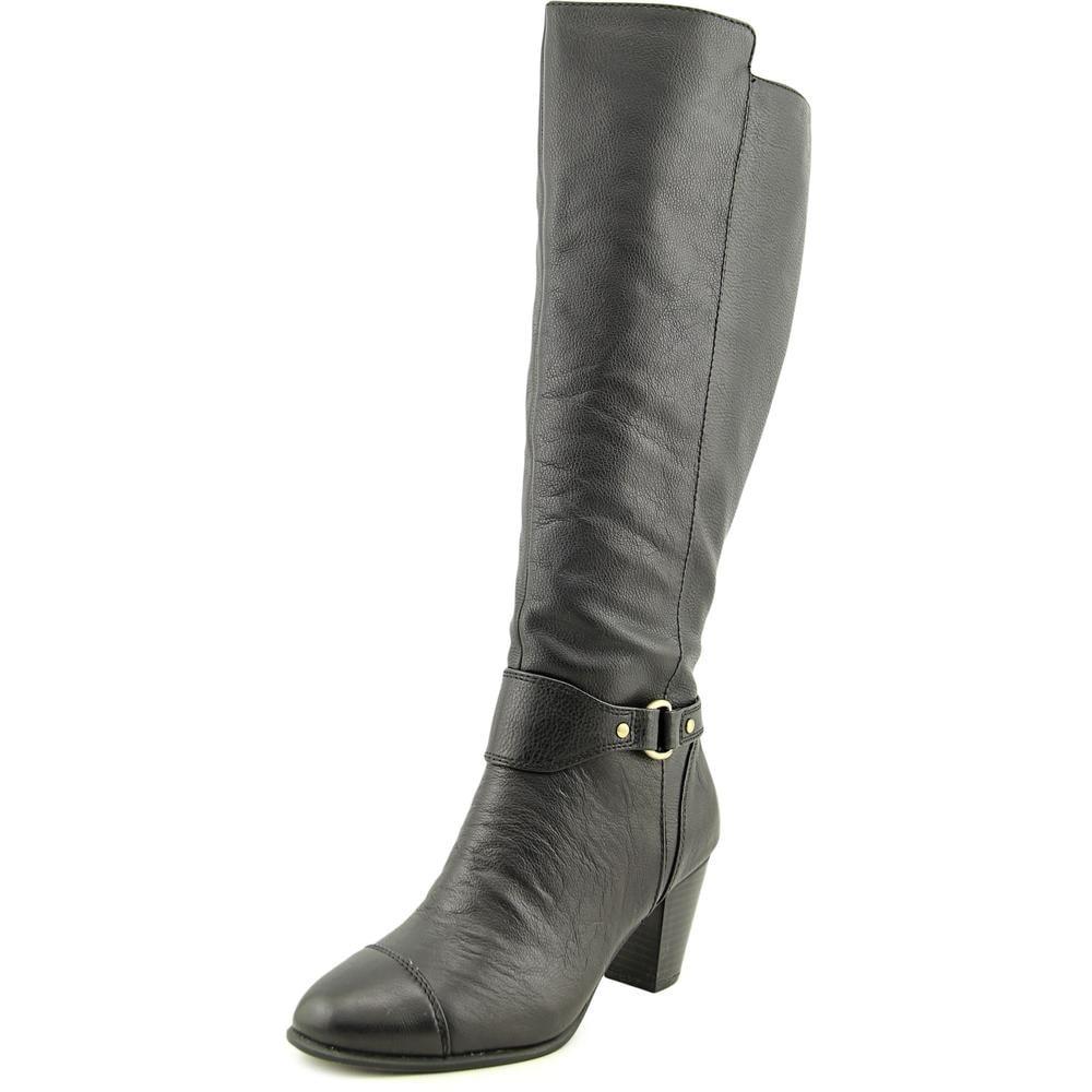2b54e5126aa2 Giani Bernini Cagney Wide Calf Women Round Toe Leather Black Knee High Boot