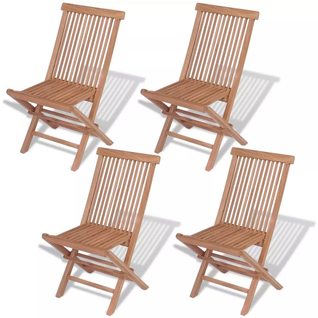 Shop Vidaxl 4x Solid Teak Wood Outdoor Folding Chairs Brown Seat