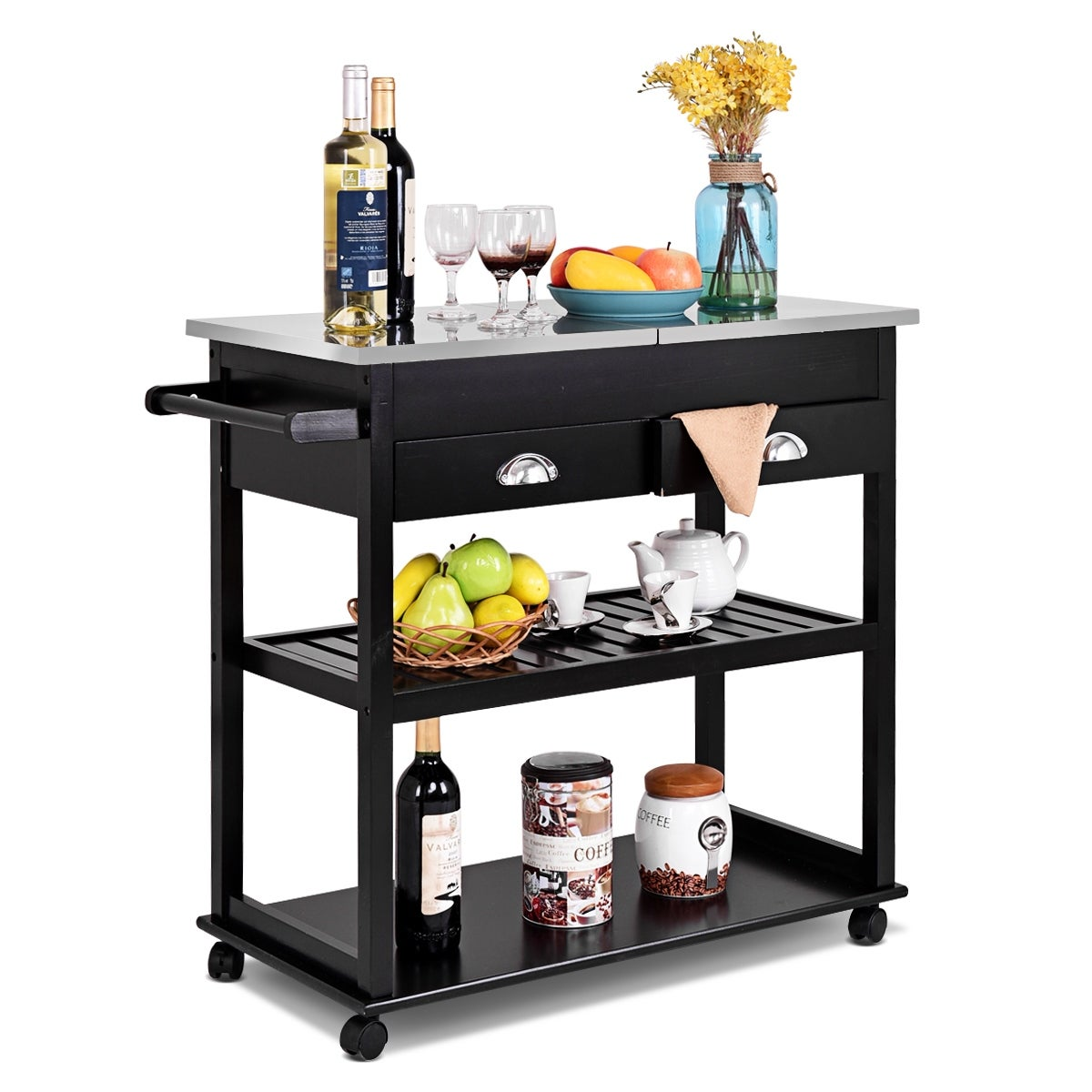 Shop costway rolling kitchen trolley cart stainless steel flip top w drawers casters free shipping today overstock com 16743352