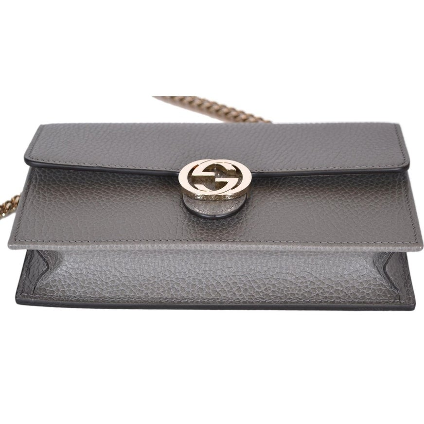 Shop Gucci 510314 Grey Leather Interlocking GG Crossbody Wallet Bag Purse  Clutch - 7.5