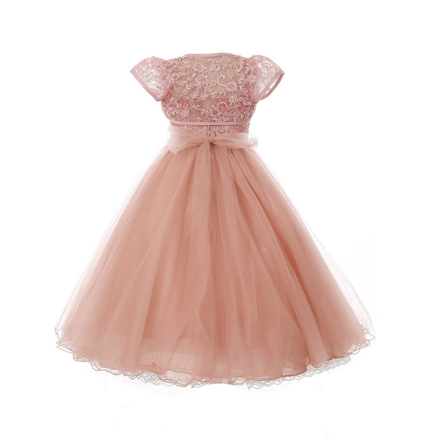 Chic Baby Little Girls Dusty Rose Sparkle Embroidery Flower Girl Dress