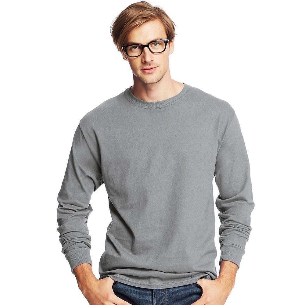 77eab9133d4 Hanes Men s TAGLESS® Comfortsoft® Long-Sleeve T-Shirt - Size - 2XL - Color  - Light Steel