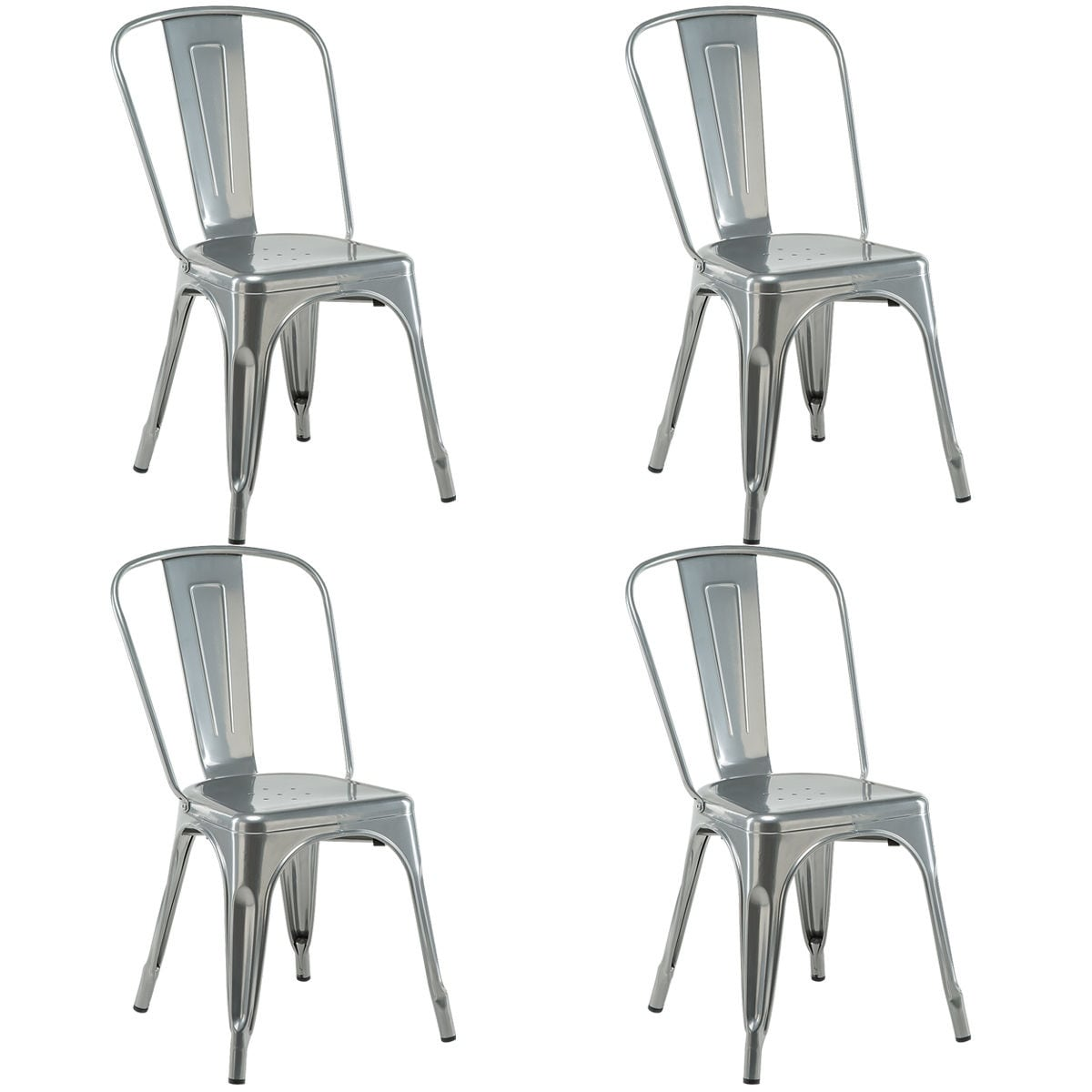 shop costway set of 4 dining side chair stackable bistro cafe metal