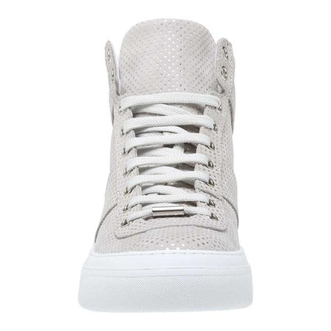 1dd2e47f881ec Shop Jimmy Choo Men's Belgravia Metallic Leather High-Top Sneaker Ice  Grey/Steel Calf - Free Shipping Today - Overstock - 21727475