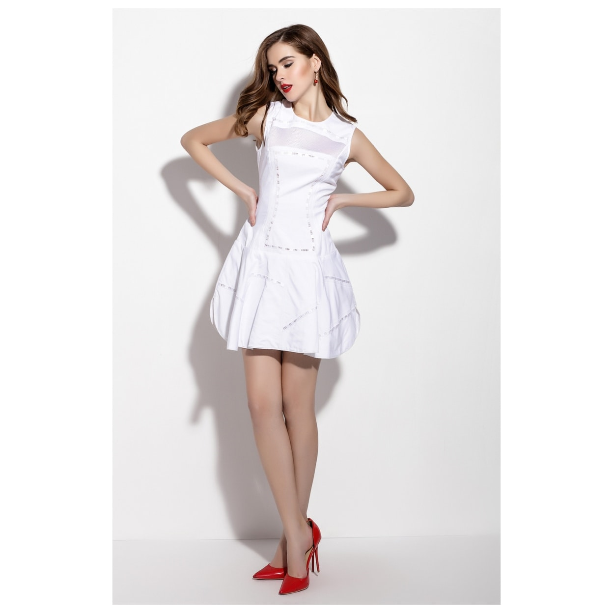 5158dd8858e5 Shop Simple White Embellished Sleeveless Fit And Flare Skater Dress ...