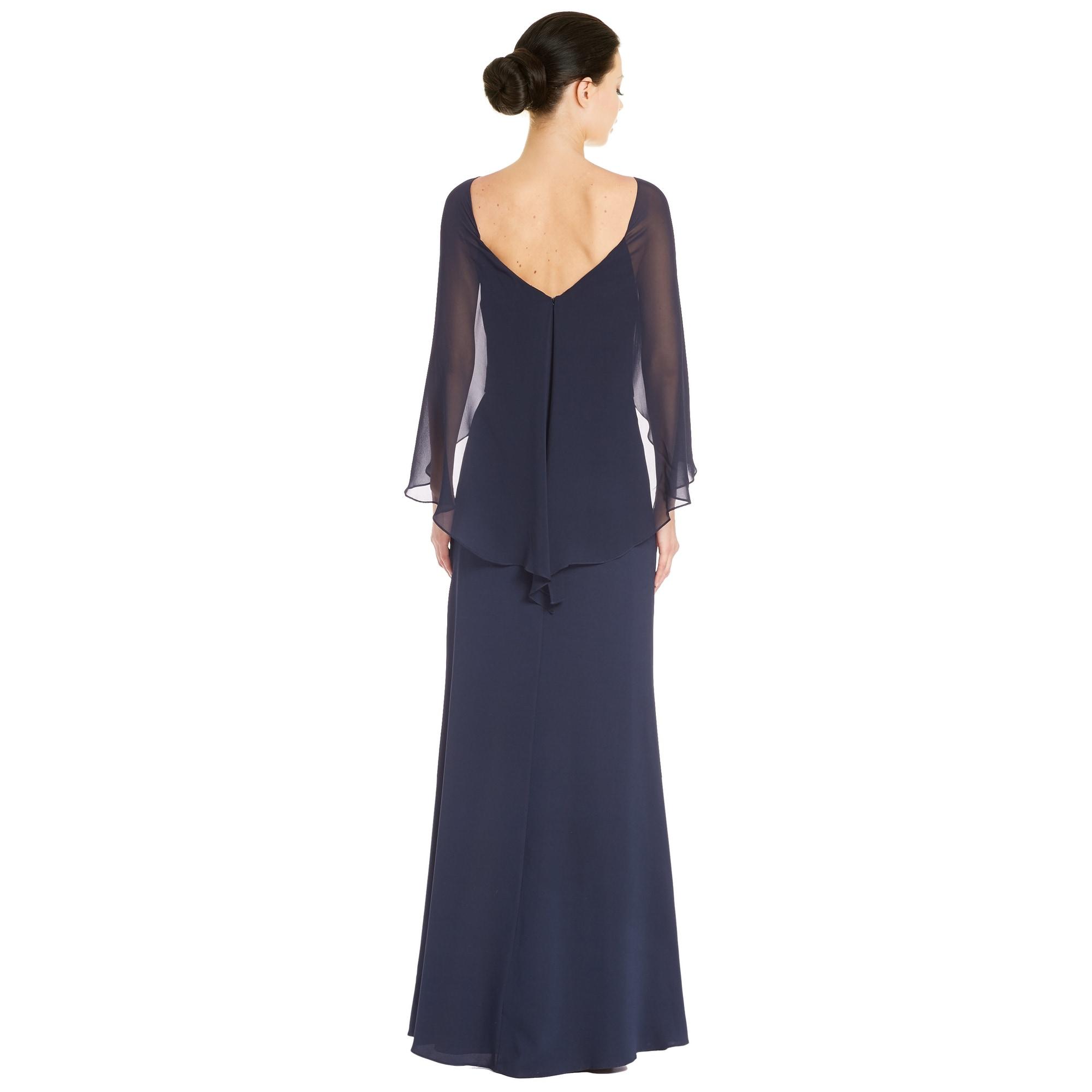 Shop Badgley Mischka Draped Silk Cape Sleeve Evening gown Dress Navy ...