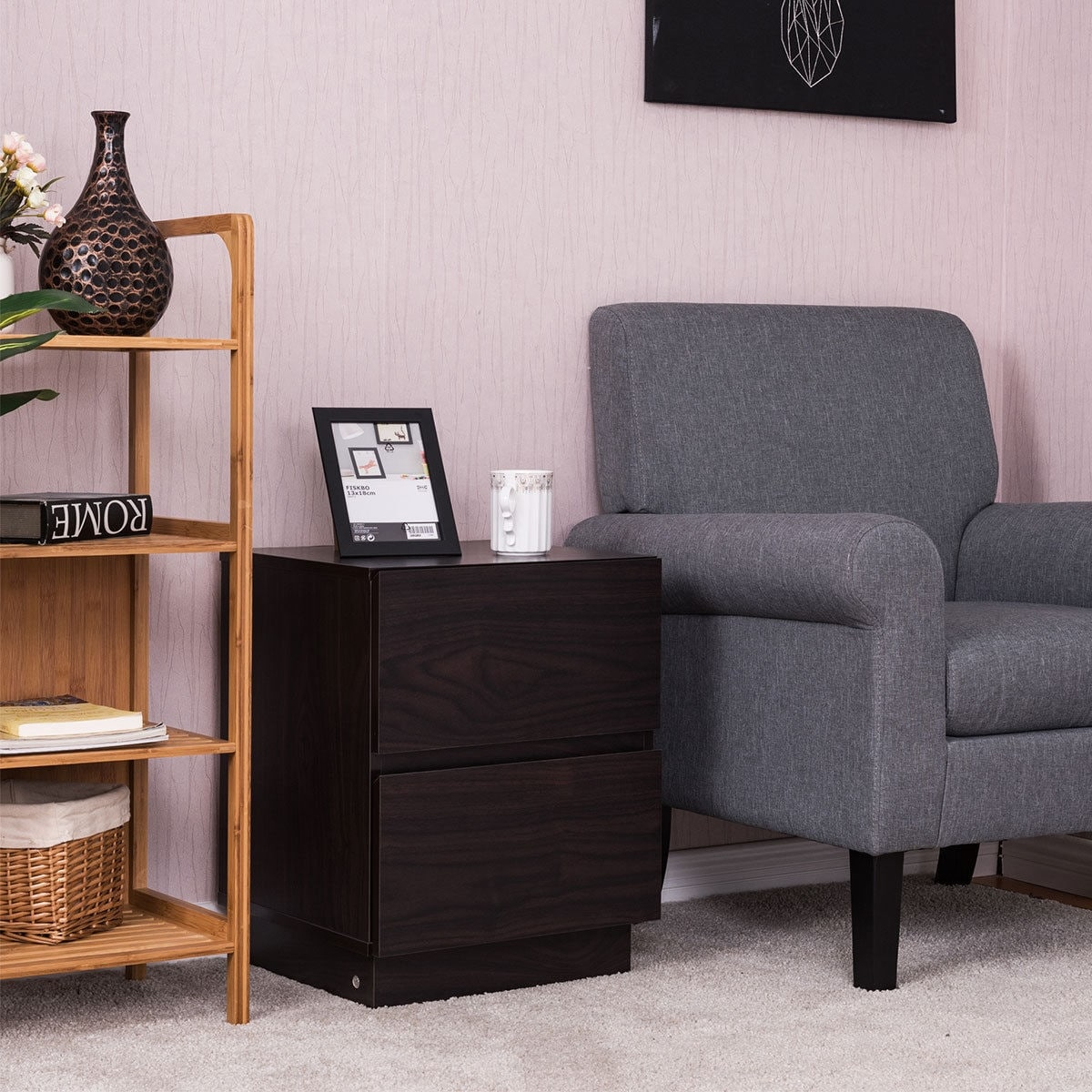 Costway 2 Drawers End Table Night Stand Chest Cabinet NightStands ...