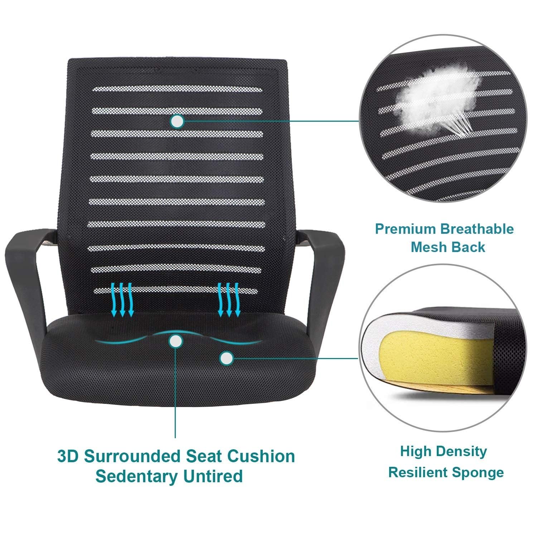 Office Chair Pu Surface Cushion Adjustable Swivel Mesh Desk Chairs