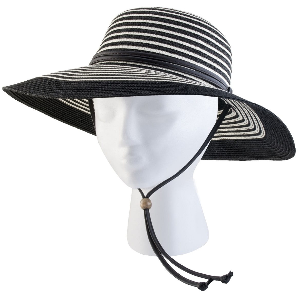 b49e7fcade2ce2 Shop Sloggers 442BW Women's Braided Wide Brim Sun Hat, UPF 50+, Black &  White - Free Shipping On Orders Over $45 - Overstock - 25096270