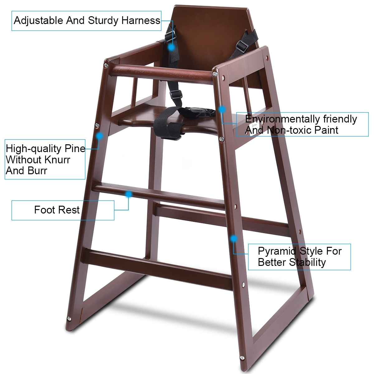 Shop Costway Baby High Chair Wooden Stool Infant Feeding Children Toddler Restaurant Natural (BN) - Free Shipping Today - Overstock.com - 18298965  sc 1 st  Overstock.com & Shop Costway Baby High Chair Wooden Stool Infant Feeding Children ...