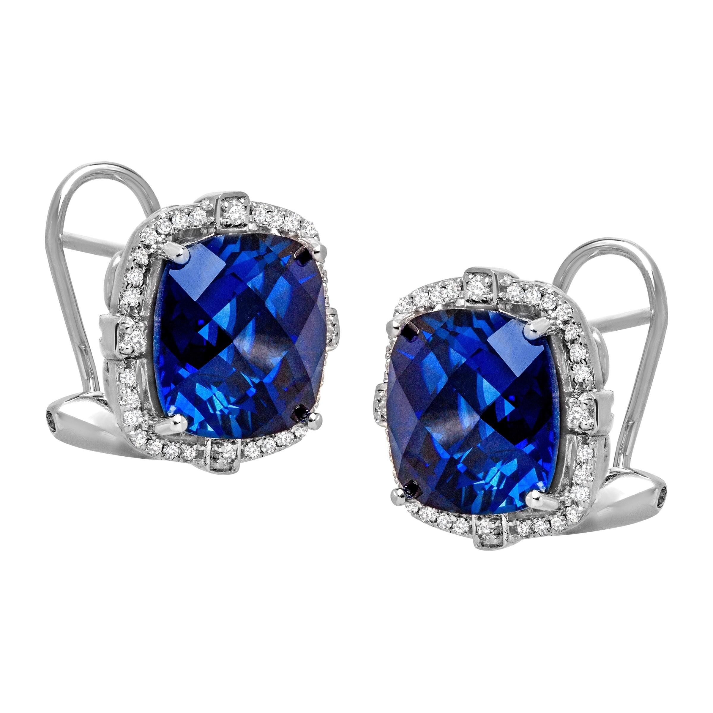 3 Ct Blue Sapphire /& Diamond Trillion Stud Earrings .925 Sterling Silver