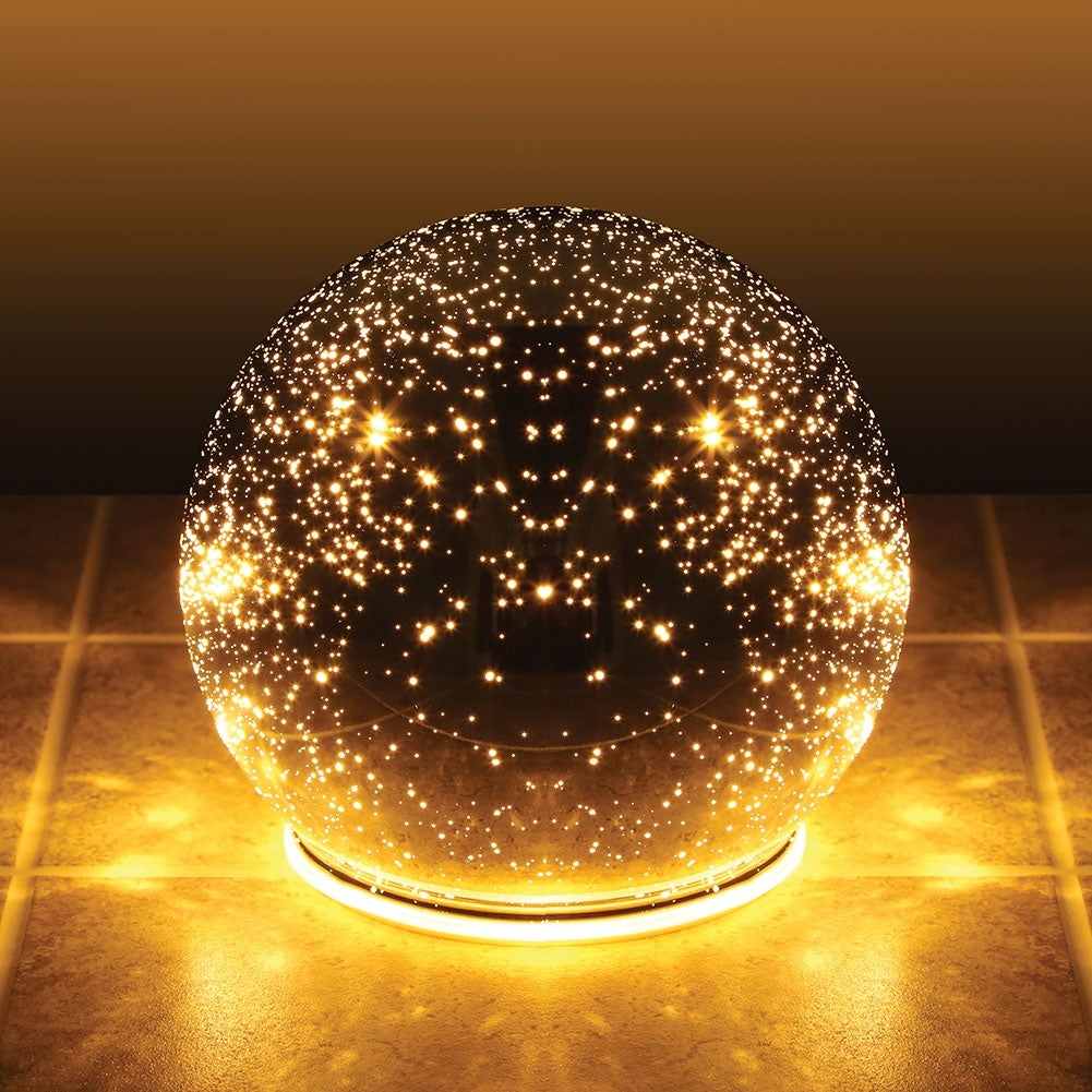 Small Lighted Mercury Glass Sphere Gazing Ball - Battery Powered - 5 ...