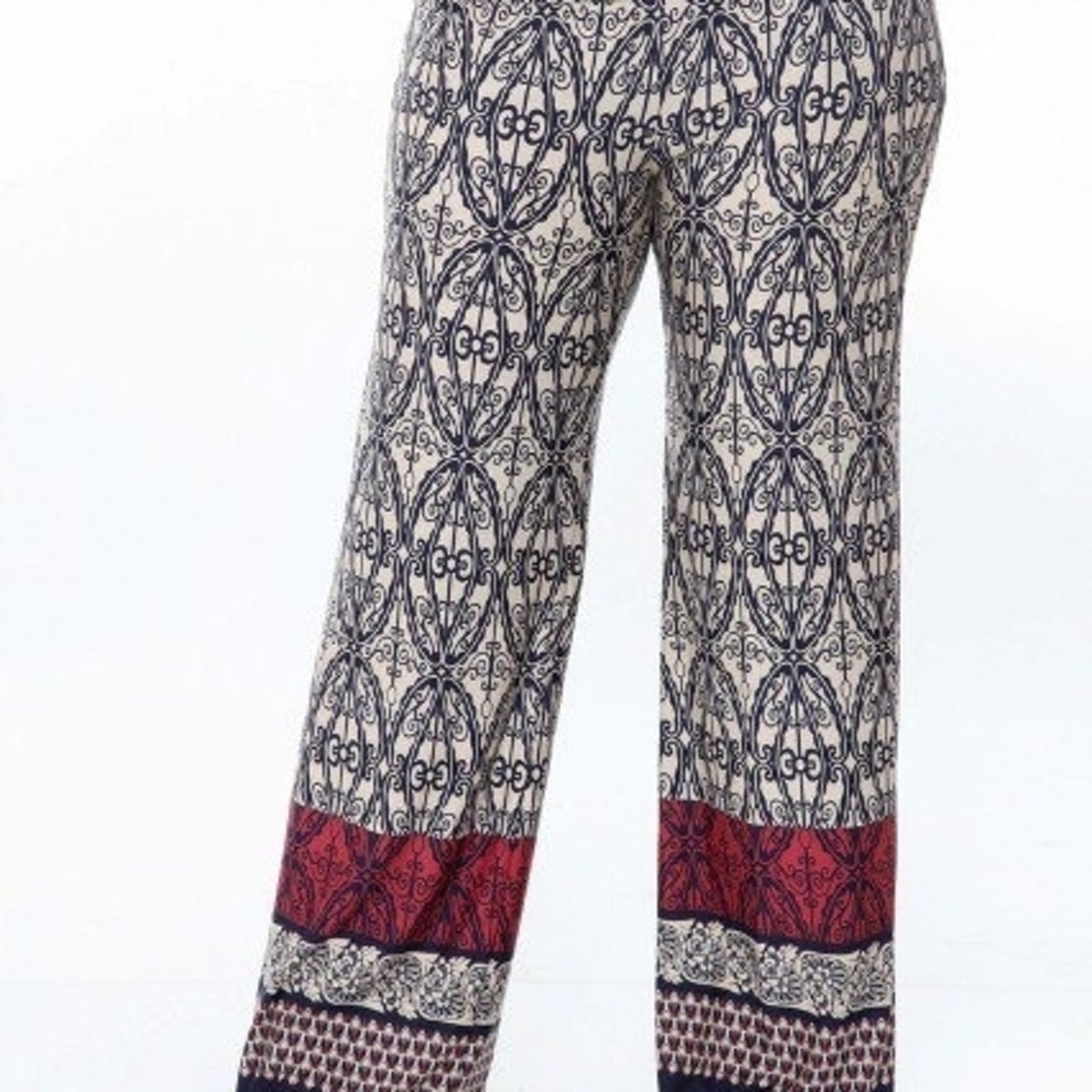 265c2deb1b4 Shop White Mark Ps550-116-3Xl Plus Size Printed Palazzo Pants 116-Beige    Navy - 3Xl - Free Shipping On Orders Over  45 - Overstock.com - 26963038