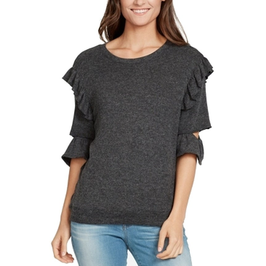 e8bc3f1eeac9d7 Shop William Rast Gray Women's Size XL Ruffled Cutout-Sleeve Sweater - On  Sale - Free Shipping On Orders Over $45 - Overstock - 27057854