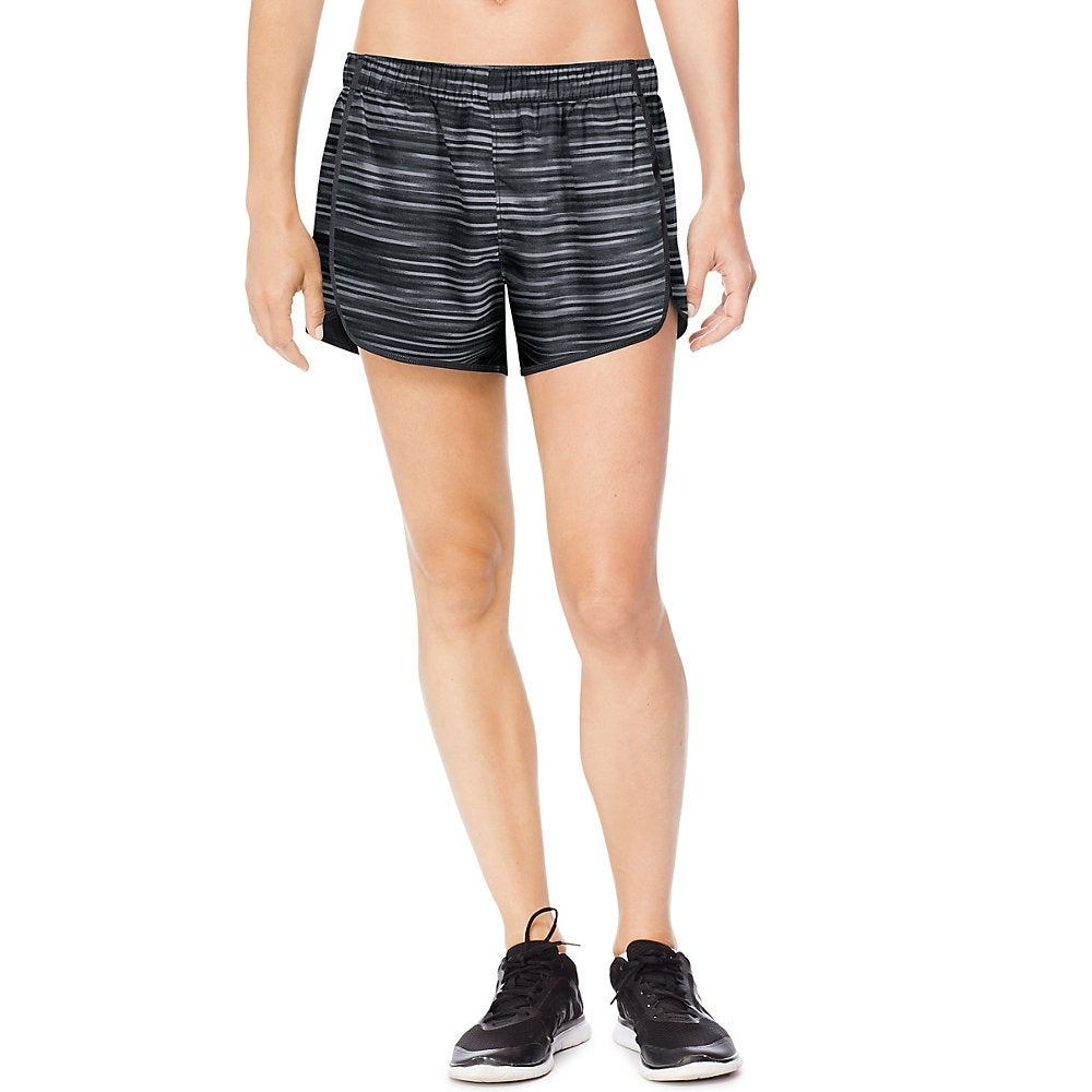 Shop Hanes Sport™ Women s Performance Running Shorts - Color - Black  Grey  Glitch Stripe Black - Size - XL - Free Shipping On Orders Over  45 ... 98342b29e5