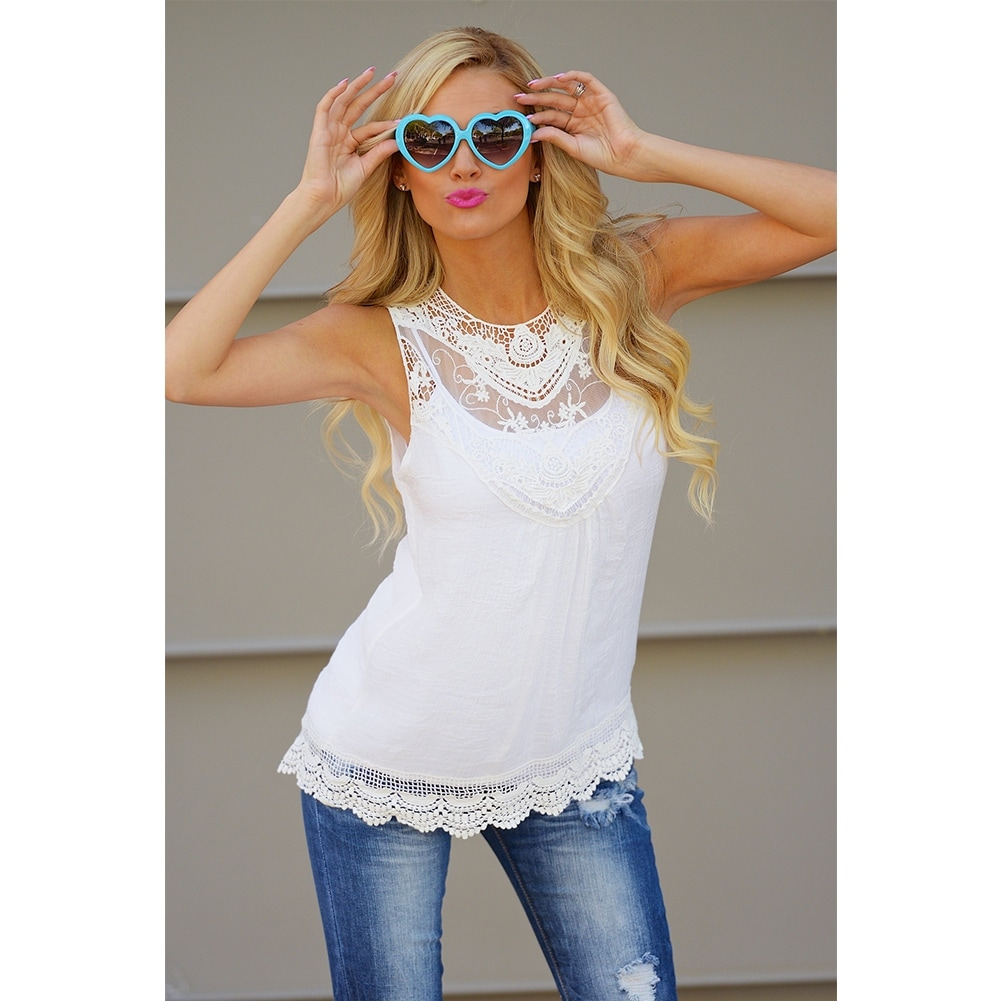 d55d6159b2 Shop Fashion Women Summer Vest Top Sleeveless Blouse Casual Tank Tops T-Shirt  Lace - Ships To Canada - Overstock - 11841868