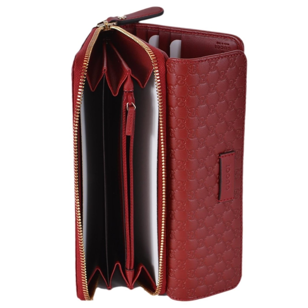 da959bf239cc Shop Gucci Women's 449364 Red Leather Micro GG Continental Bifold Wallet  W/Zip - Free Shipping Today - Overstock - 22048062