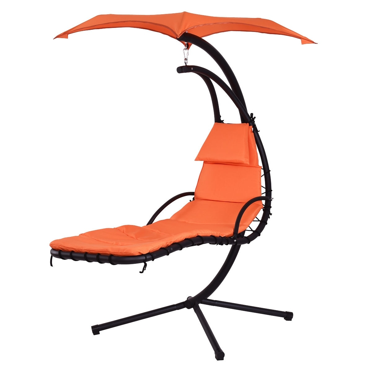 Shop Costway Hanging Chaise Lounge Chair Arc Stand Air Porch Swing Hammock  Chair Canopy Orange   Free Shipping Today   Overstock.com   15954937